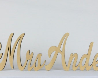 Mr & Mrs Table Top Name (20cm high)