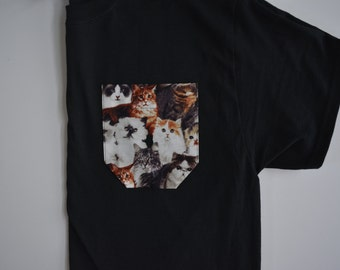 Cat pocket tee, pocket tee, monogram pocket tee, pocket t-shirt