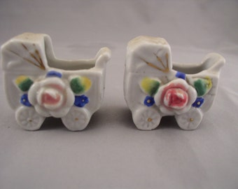 Pair of Occupied Japan Miniature Porcelain Baby Carriages, Hand Painted 1940s