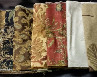 Set of Seven- 17in x 17in Upholstery fabric Squares- 19A