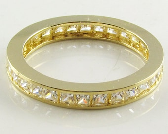 GR30610 14K solid gold 1.5ct total princess cut eternity band ring