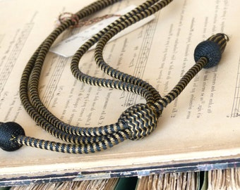Antique real gold  black military passementerie World War I, U.S. Army officer regulation acorn tassle & slide cord, campaign hat.