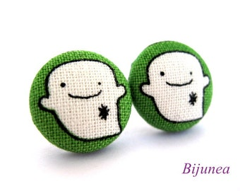 Ghost earrings - Green ghost stud earrings - Ghost studs - Ghost posts sf651