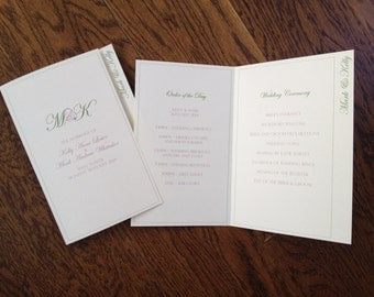 Personalised Wedding Order of Service Card