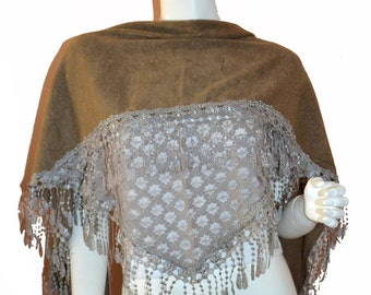 Camel Triangle Knit & Lace Fashion Scarf