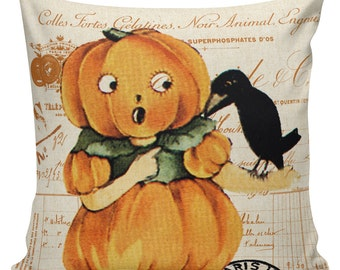 Pillow Cushion Halloween Orange Vintage Pumpkin Jack O Lantern Cotton RQ-135 RavenQuoth All Hallow's Eve Home Decor
