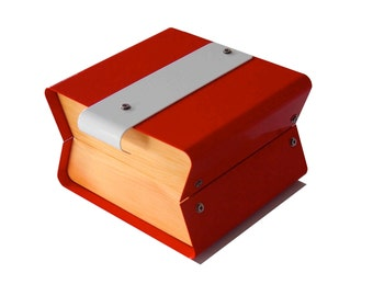 Hand made Huon Pine Jewelry Box Watch Box valet Red with white stripe