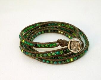 Green Beaded Wrap Bracelet