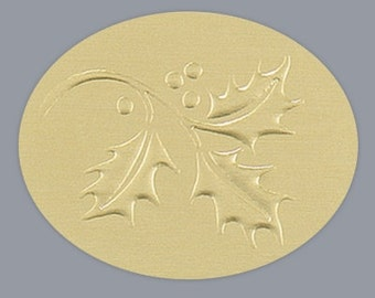 Embossed Gold Holly Oval Christmas Stickers Envelope Seals Holiday