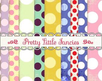 Polka Dots Backgrounds digital  paper pack