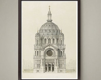 Italian Architectural drawing art print. Nice home or office decor, a wonderful gift.Classic look! Size 8 x10 or 11x14 inch.