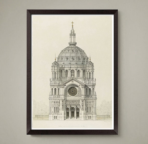 italian architectural drawing art print nice home or office