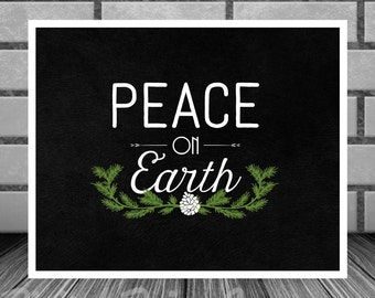 Art Print Peace On Earth Holiday Wall Art 8 x 10 Christmas Instant Download
