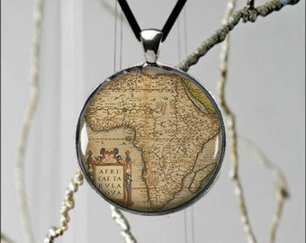 Map Necklace Africa Continent Pendant Unique Jewelery Vintage  - 2 sizes available