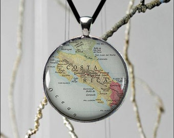 Lovely Costa Rica Map Central America Rich Coast Pendant Unique Jewelry Vacation Spot Custom Made- 2 sizes available