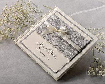 Custom Wedding Guestbook, Lace Vintage Guestbook, Grey Wedding Guestbook,