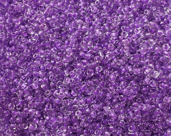Purple seed beads 10/0,Ming Tree, violet seed beads,tiny beads,small beads,jewelry supplies,2mm beads,glass,translucent purple,BS7488