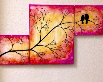 Abstract Birds on a Tree Branch, acrylic painting