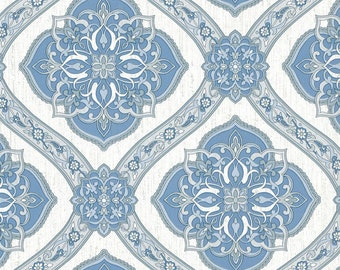 Blue & Gray Rosette Filigree Wallpaper MK70302  - Sold by the Yard