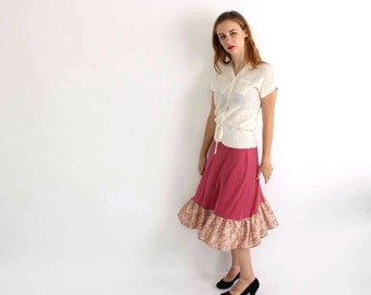 vintage prairie skirt in dusty rose pink with ruffled floral hem - womens size small medium midi skirt . prairie boho skirt