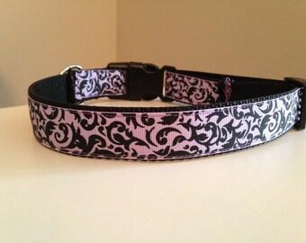 Lavender Purple and Black Damask Large Dog Collar