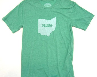 Ohio Mixtape Tshirt, Screenprinted Tshirt, Triblend Green, Ohio Local Music