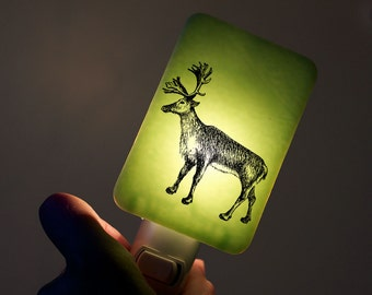 Christmas Nightlight of Reindeer on Pastel Mint Green Fused Glass Night Light - Baby Shower or Nature Lover - Holiday decor Woodland Animal