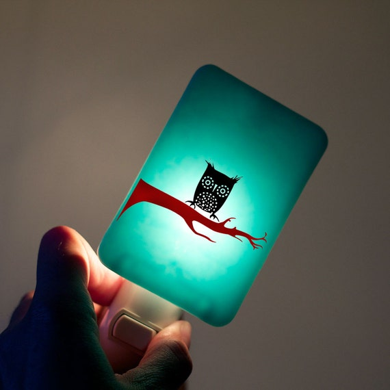 Cute Owl Nightlight on Aqua Blue Fused Glass Night Light - Gift for Baby Shower or Nature Lover - Halloween Owl