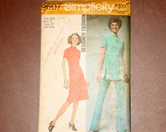 Vintage McCall's Dress & Pants Pattern 2278 - Size 14-1/2/Bust 37/Waist 30 Half-Size - FREE US SHIPPING