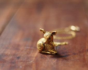 Vintage Deer Fawn Locket Solid Perfume Necklace