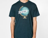 Go Beyond Globe Tee - Mens Hand Stenciled Crew Neck Graphic T-Shirt in Heather Sea Green - XS S M L XL 2XL