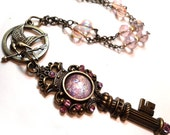 The Key to his Heart - by B. K. Lusk Pendant Necklace Steampunk Art Nouveau Mockingjay Victorian Pink Pearl