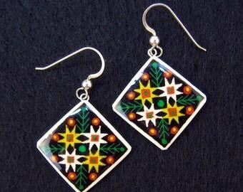 Pine Tree Earrings - PINE STARS - pysanky jewelry - ukrainian jewelry - square earrings - black earrings - ostrich eggshell jewelry