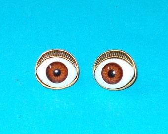 Evil Eye Post Earrings - Brown