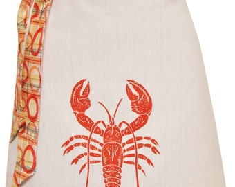 Organic block print lobster apron