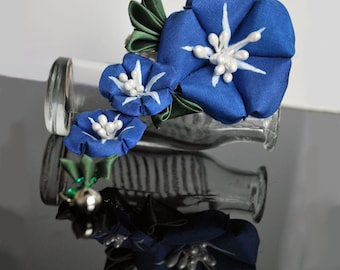 Silk Royal Blue Asagao kanzashi clip (Morning Glory). MADE TO ORDER.