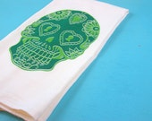 Sugar skull tea towel kitchen towels screen printed day of the dead red dish cloth home decor
