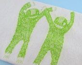 Tea Towel Apple Green Monster  kitchen dish towel