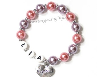 Princess Name bracelet for your little girl. Rhinestone heart charm YOU CHOOSE COLOR. Best Friend Sister Bridesmaid Goddaughter Flower Girl
