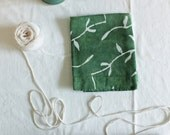 spinach green vines linen towel
