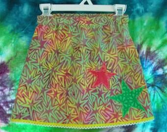 Batik Stars Applique Toddler Skirt