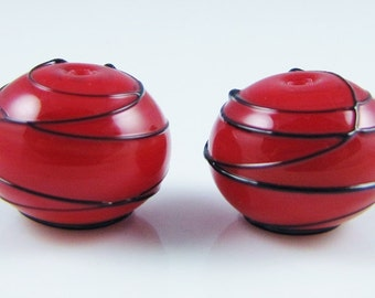 Cherry Red and Black Hollow Spiral Wrap Lampwork Glass Beads