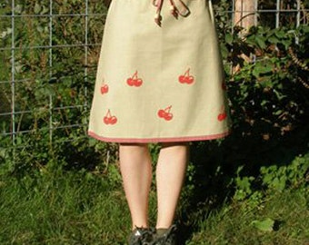 Hemp Green and Pink with Cherries Drawsting Skirt PLUS Size