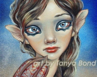 Bat Girl - 5x7 print of an oil painting by Tanya Bond - surreal pop - big eyed fantasy art superhero supergirl superwoman