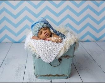 White - Mini Prop Blanket  white knit newborn photography prop basket filler