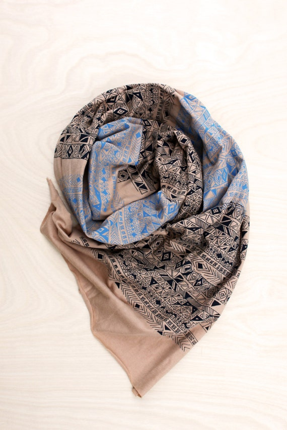 Screen Printed Jersey Scarf in Cream with Aqua and Navy Blue Rude Boy Print