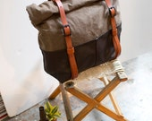 Weekender Bag, Waxed Canvas, Travel Bag, Backpack, or Overnight Bag in Brown Leather & Oak Waxed Canvas; THE BROWN HOTSHOT by Awl Snap