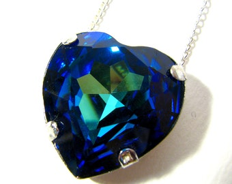Heart Of The Ocean - Glittering Multicolored Bermuda Blue Swarovski Heart Crystal Rhinestone Necklace - Available In Silver Or Gold