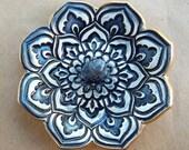 Navy Blue Lotus Ring Holder Bowl Ring Dish  gold edged