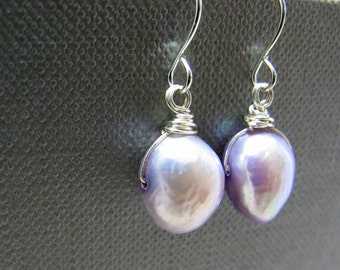 Natural Lilac Purple Freshwater Pearl Earrings // Uniquely Shaped // Silver Plated Wire Wrapped Earrings // Gift under 15